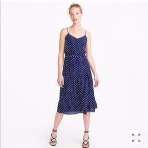 J. CREW Spaghetti-Strap Polka Dot Dress 100% Silk